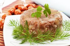 Traditional Russian food. Aspic meat jelly Stock Images