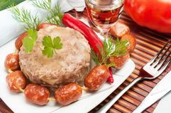 Traditional Russian food. Aspic meat jelly Royalty Free Stock Photos