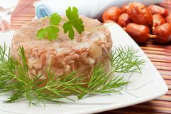 Traditional russian food - meat in aspic Stock Photography