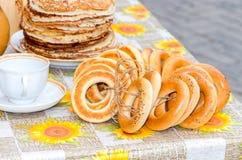 Traditional Russian food during the pancake week or maslenitsa Royalty Free Stock Image