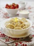 Traditional Russian food pelmeni Stock Photo