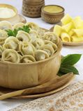 Traditional Russian food pelmeni Stock Images