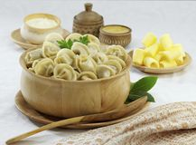 Traditional Russian food pelmeni Royalty Free Stock Images