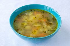 Traditional Russian food - soup rassolnik. With pickled cucumbers, potatoes, carrots stock images