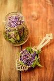 Traditional russian green herbal tea from Fireweed leaves: Koporye Tea, Russian Tea or Ivan Chai. Stock Photos