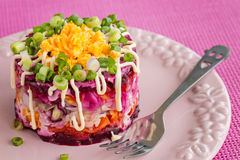 Traditional Russian herring salad on pink background Royalty Free Stock Photo