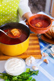 Traditional Russian hot soup with meat, beetroot and cabbage Royalty Free Stock Images