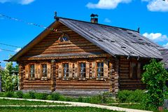 Traditional russian house named izba. Royalty Free Stock Photography