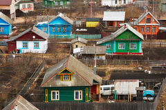 Traditional russian houses. In a small village Stock Photo