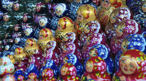 Traditional russian matrioska dolls. In a ordered sequence Stock Images