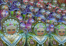 Traditional russian matrioska dolls. In a ordered sequence Stock Image