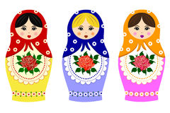 Traditional russian matryoshka. Isolated on white Stock Images