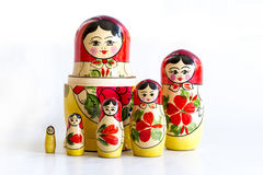 Traditional Russian matryoshka dolls. Isolated on a white background Stock Photography