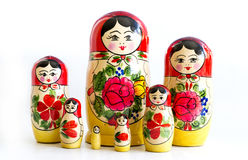 Traditional Russian matryoshka dolls. Isolated on a white background Stock Photo