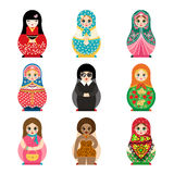 Traditional russian matryoshka toy set with handmade ornament figure pattern with child face and babushka woman souvenir. Painted doll vector illustration Stock Image
