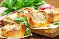Traditional russian meat pies belyashi stock photos