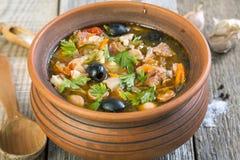 Traditional Russian meat soup closeup. Stock Photos