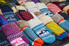 Traditional Russian mittens in a wide variety of patterns Royalty Free Stock Photos