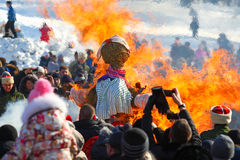 The traditional Russian national holiday devoted to the termination of winter: Maslenitsa. Festivities. March 17,2013. Gatchina Stock Photo