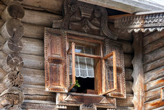 Traditional Russian Old Wooden house stock photos