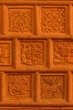 Traditional russian ornament on clay oven tiles.  stock photo