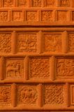 Traditional russian ornament on clay oven tiles.  stock image
