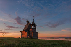 Traditional Russian Orthodox Wooden Church Chapel Of St.Nicholas On The Top Of Hill In The Vershinino Village At Sunrise. North. Of Russia, Kenozero Lake Stock Photos