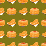 Traditional Russian pancake cuisine seamless pattern dish course food gourmet national meal vector illustration. Stock Image
