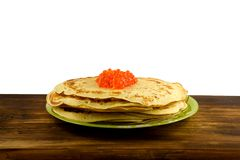 Traditional Russian pancakes with red caviar Royalty Free Stock Image
