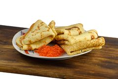 Traditional Russian pancakes with red caviar Royalty Free Stock Images