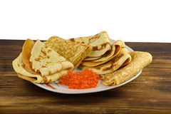 Traditional Russian pancakes with red caviar Stock Photography