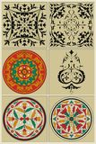 Traditional Russian pattern, enclosed in a circle and black vignette Royalty Free Stock Photography