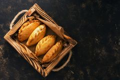 Traditional Russian pies in a wooden tray on a dark rustic background. Russian pirozhki ,baked patties. Top view, copy space, flat royalty free stock photos