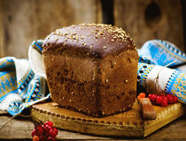 Traditional Russian rye Borodino bread Stock Photos