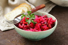 Traditional Russian salad of beetroot and pickled cabbage Royalty Free Stock Photography