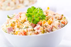 Traditional russian salad. Bowl of traditional russian salad Stock Image