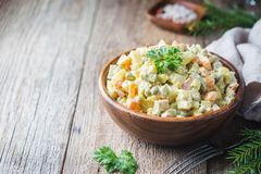 Traditional Russian salad stock images