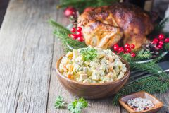 Traditional Russian salad royalty free stock photos