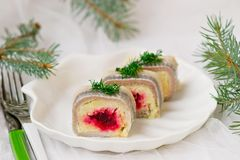 Traditional Russian salad with a herring Royalty Free Stock Photo