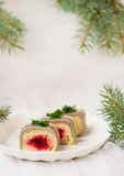Traditional Russian salad with a herring Stock Photography
