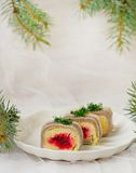 Traditional Russian salad with a herring Royalty Free Stock Images