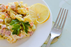 Traditional Russian salad with mayonnaise Royalty Free Stock Images