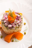Traditional Russian salad olivie with boiled vegetables Stock Photos