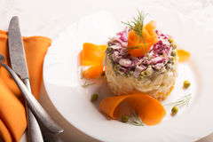 Traditional Russian salad olivie with boiled vegetables Royalty Free Stock Photo