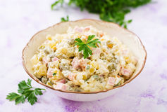 Traditional Russian salad `Olivier`. Royalty Free Stock Photo