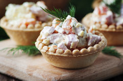 Traditional russian salad Olivier served in tartlet Royalty Free Stock Images
