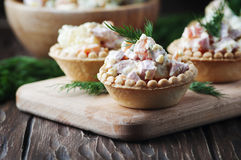 Traditional russian salad Olivier served in tartlet Royalty Free Stock Photography