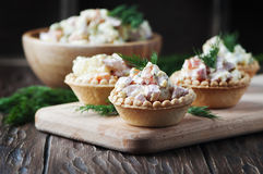 Traditional russian salad Olivier served in tartlet Royalty Free Stock Image