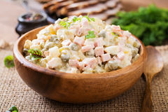 Traditional Russian salad Olivier Royalty Free Stock Image