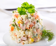 Traditional russian salad Royalty Free Stock Image